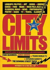 Cover for the launch issue of City Limits, October 1981.