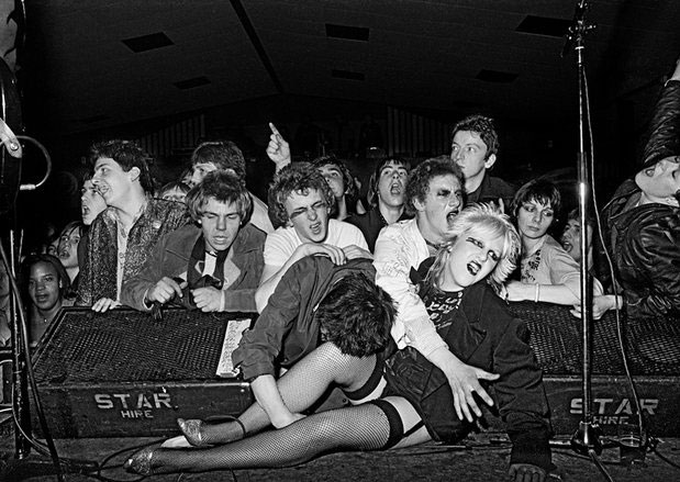 Stage invasion at the Ruts gig in Norfolk, 1979.