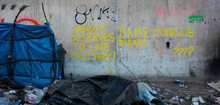 Graffiti in the Calais Jungle.
