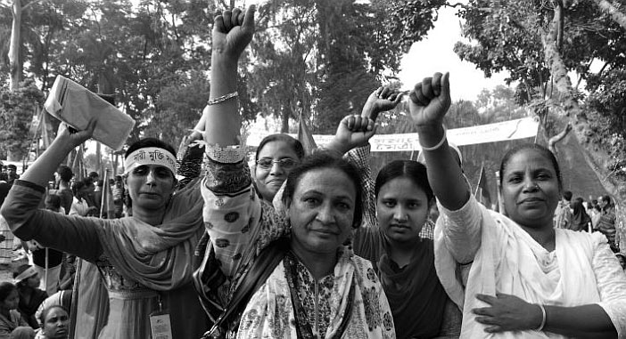 Bangladeshi garment workers who have unionised their factory at NGWF demonstration. Picture: Tansy Hoskins